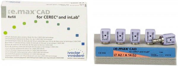 IPS e.max CAD for CEREC/inLab - Packung 5 Stück Gr. A14 L, A2 LT von Ivoclar Vivadent